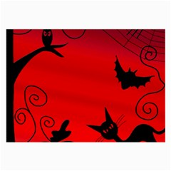Halloween Landscape Large Glasses Cloth (2 Side) by Valentinaart