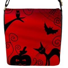 Halloween Landscape Flap Messenger Bag (s) by Valentinaart