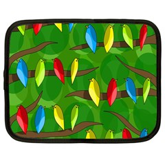 Parrots Flock Netbook Case (large) by Valentinaart
