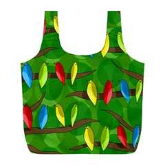 Parrots Flock Full Print Recycle Bags (l)  by Valentinaart