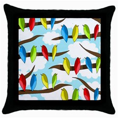 Parrots Flock Throw Pillow Case (black) by Valentinaart