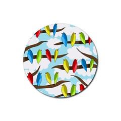 Parrots Flock Rubber Round Coaster (4 Pack)  by Valentinaart