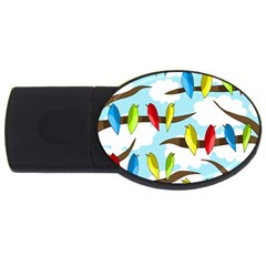 Parrots Flock Usb Flash Drive Oval (4 Gb)  by Valentinaart