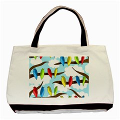 Parrots Flock Basic Tote Bag by Valentinaart