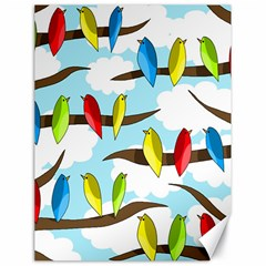 Parrots Flock Canvas 18  X 24   by Valentinaart