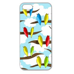 Parrots Flock Apple Seamless Iphone 5 Case (clear) by Valentinaart