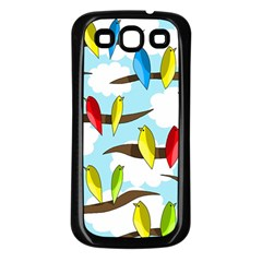 Parrots Flock Samsung Galaxy S3 Back Case (black) by Valentinaart