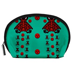 Dancing In Polka Dots Accessory Pouches (large)  by pepitasart