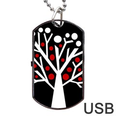 Simply Decorative Tree Dog Tag Usb Flash (one Side) by Valentinaart