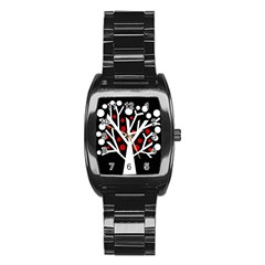 Simply Decorative Tree Stainless Steel Barrel Watch by Valentinaart