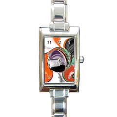 Abstract Orb In Orange, Purple, Green, And Black Rectangle Italian Charm Watch
