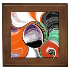 Abstract Orb In Orange, Purple, Green, And Black Framed Tiles by digitaldivadesigns