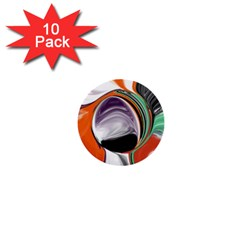 Abstract Orb In Orange, Purple, Green, And Black 1  Mini Buttons (10 Pack)