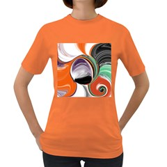 Abstract Orb In Orange, Purple, Green, And Black Women s Dark T Shirt