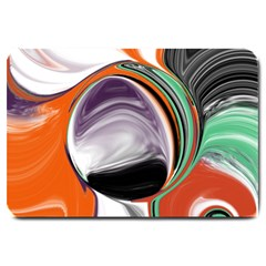 Abstract Orb In Orange, Purple, Green, And Black Large Doormat  by digitaldivadesigns
