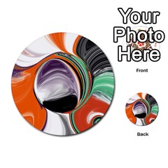 Abstract Orb In Orange, Purple, Green, And Black Multi Purpose Cards (round)  by digitaldivadesigns