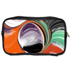 Abstract Orb In Orange, Purple, Green, And Black Toiletries Bags 2 Side