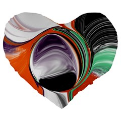 Abstract Orb In Orange, Purple, Green, And Black Large 19  Premium Heart Shape Cushions