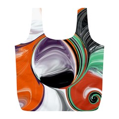 Abstract Orb In Orange, Purple, Green, And Black Full Print Recycle Bags (l)