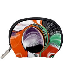 Abstract Orb In Orange, Purple, Green, And Black Accessory Pouches (small)