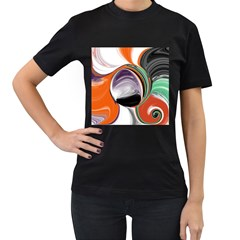 Abstract Orb In Orange, Purple, Green, And Black Women s T Shirt (black) (two Sided)