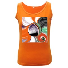 Abstract Orb In Orange, Purple, Green, And Black Women s Dark Tank Top