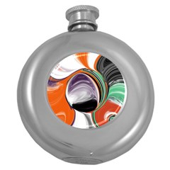 Abstract Orb In Orange, Purple, Green, And Black Round Hip Flask (5 Oz) by digitaldivadesigns