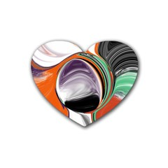 Abstract Orb In Orange, Purple, Green, And Black Rubber Coaster (heart)  by digitaldivadesigns