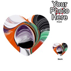 Abstract Orb In Orange, Purple, Green, And Black Multi Purpose Cards (heart)  by digitaldivadesigns