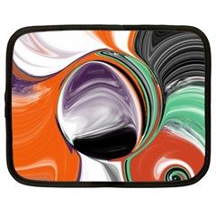 Abstract Orb In Orange, Purple, Green, And Black Netbook Case (xxl)