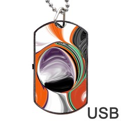 Abstract Orb In Orange, Purple, Green, And Black Dog Tag Usb Flash (one Side)