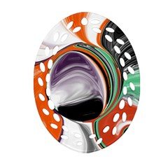Abstract Orb In Orange, Purple, Green, And Black Oval Filigree Ornament (2 Side)