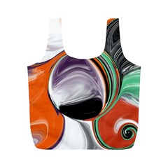 Abstract Orb In Orange, Purple, Green, And Black Full Print Recycle Bags (m)