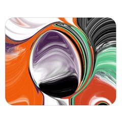 Abstract Orb In Orange, Purple, Green, And Black Double Sided Flano Blanket (large)  by digitaldivadesigns