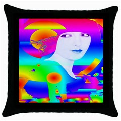 Abstract Color Dream Throw Pillow Case (black)
