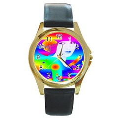 Abstract Color Dream Round Gold Metal Watch