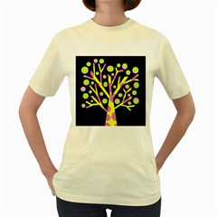 Simple Colorful Tree Women s Yellow T Shirt by Valentinaart