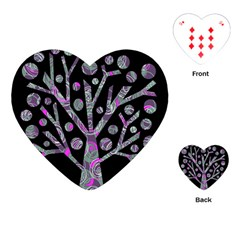 Purple Magical Tree Playing Cards (heart)  by Valentinaart