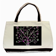 Purple Magical Tree Basic Tote Bag by Valentinaart