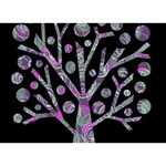 Purple magical tree Birthday Cake 3D Greeting Card (7x5) Back