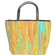 Beautiful Abstract In Orange, Aqua, Gold Bucket Bags by digitaldivadesigns