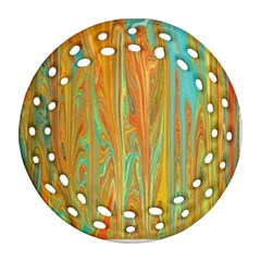 Beautiful Abstract In Orange, Aqua, Gold Round Filigree Ornament (2side) by digitaldivadesigns