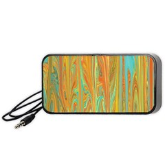 Beautiful Abstract In Orange, Aqua, Gold Portable Speaker (black)  by digitaldivadesigns