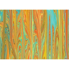 Beautiful Abstract In Orange, Aqua, Gold Birthday Cake 3d Greeting Card (7x5) by digitaldivadesigns