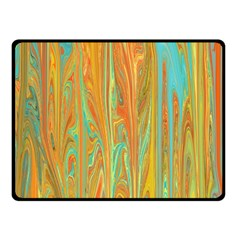 Beautiful Abstract In Orange, Aqua, Gold Double Sided Fleece Blanket (small)