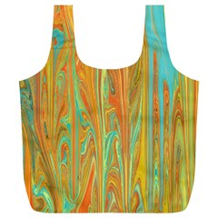 Beautiful Abstract In Orange, Aqua, Gold Full Print Recycle Bags (l)  by digitaldivadesigns