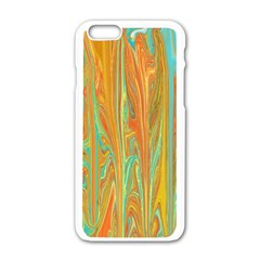 Beautiful Abstract In Orange, Aqua, Gold Apple Iphone 6/6s White Enamel Case by digitaldivadesigns