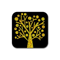 Yellow Magical Tree Rubber Square Coaster (4 Pack)  by Valentinaart
