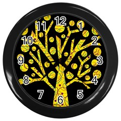 Yellow Magical Tree Wall Clocks (black) by Valentinaart