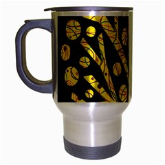 Yellow Magical Tree Travel Mug (silver Gray) by Valentinaart